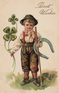 ST. PATRICK DAYS, 1900-10s; Boy holding four-leaf clovers, horseshoe, PFB 7614