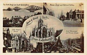 EDINBURGH SCOTLAND UK~LOVE & GOOD LUCK~MULTI IMAGE~KNOX HOUSE~PHOTO POSTCARD