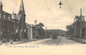 Third Avenue, New Brighton, Pennsylvania Street Scene 1906 Vintage Postcard