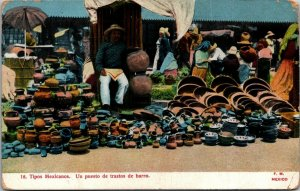 Mexican guys A mud deal stand vtg postcards