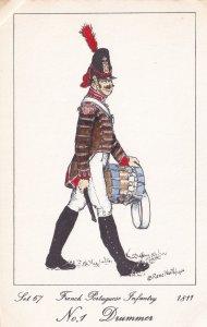 French 15th Light Regiment Drummer Napoleonic War Soldier 1811 PB Postcard