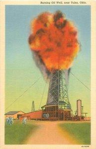 Burning Oil Well Near Tulsa, Oklahoma Linen Postcard