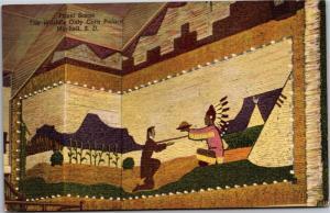Detail Panel from Corn Palace, Mitchell South Dakota Linen Vintage Postcard Y06