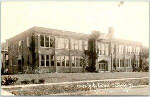 CARTHAGE, Illinois RPPC Photo Postcard HIGH SCHOOL Building View 1939 Cancel