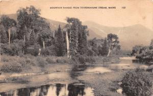 SOURDNAHUNK STREAM MAINE MOUNTAIN RANGES POSTCARD 1956 PSTMK BAYSIDE