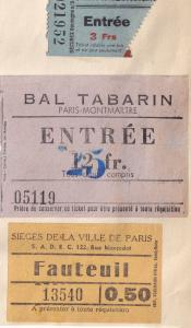 Bal Tabarin Paris French Risque Cabaret 1950s 3x Ticket