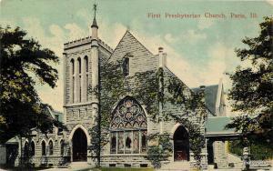 1912 PARIS ILLINOIS First Presbyterian Church postcard 3015