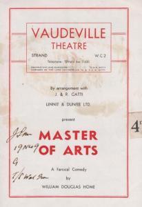 Master Of Arts Vaudeville Theatre Comedy London Theatre Programme