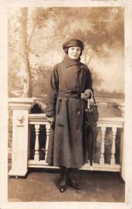 WOMAN POSING WEARING VERY STYLISH COAT & HAT~RENSLERS REAL PHOTO POSTCARD 1910s