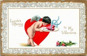 Tuck Postcard Embossed Valentine's Day Love's Offering to My Valentine 1910 K3