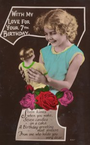 Young Girl With Action Man Type Doll Old Birthday Postcard