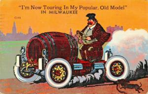 MILWAUKEE WI~BEER MOBILE~TOURING IN POPULAR OLD MODEL-DACHSHUND CHASING-POSTCARD