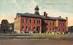 Clarion IA Children on Playground @ Public School (Old HS?) Postcard c1908