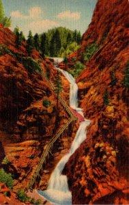 Colorado South Cheyenne Canon Seven Falls 1951 Curteich