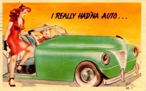 Comic - I Really Had'na Auto... Girl into boy's car - in 1945