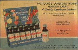 Linen Adv - Nowland's Landford Garden Spray c1940 Gardening Postcard