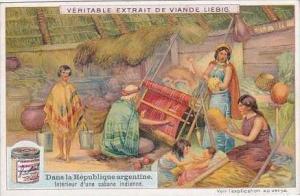 Liebig Vintage Trade Card S973 Argentine Republic No 6 Interieur d'une cabane...