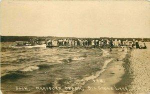 Big Stone Lake South Dakota Dock Hartford Beach 1920s RPPC Photo Postcard 11114