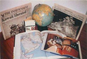 Postcard Military Earth globe book picutres modern history Earth globe kuwait