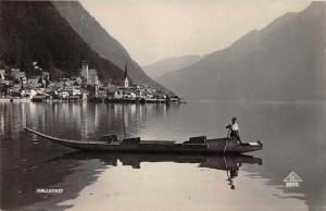 Hallstatt Austria Boy in Boat Real Photo Antique Postcard J71864