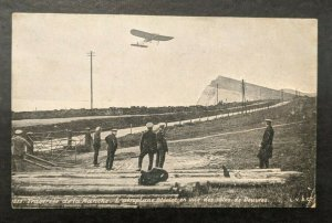Mint Vintage Early Aviation Bleriot Airplane Flying over French Soldiers RPPC