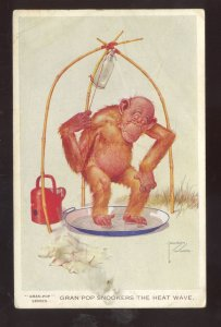 ARTIST SIGNED LAWSON WOODGRAN=POP SERIES MONKEY VINTAGE COMIC POSTCARD