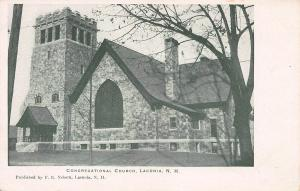 Congregational Church, Laconia, New Hampshire, Very Early Postcard, Unused