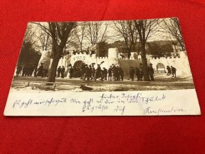 1905 Postcard GERMANY 30+ Young Men With Shovels - Huge Snow Structure - Fort