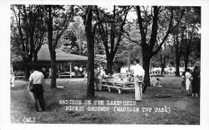 Madison-on-the-Lake Ohio~Pavilion Beyond the Picnic Tables RPPC c1950