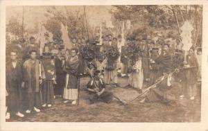 Japan Ceremony Ogre Kimono Men Scene Real Photo Antique Postcard K22275