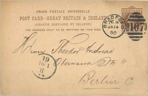 Entier Postal Stationery Postal Great Britain Great Britain 1890 Bradford to ...
