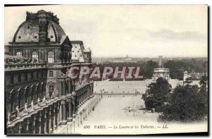 Old Postcard Paris Louvre and the Tuileries