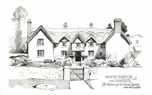 Art Postcard, Hayes Barton near Exmouth, Birthplace Sir Walter Raleigh 95U
