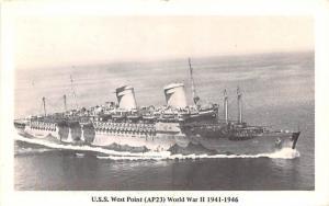 USS West Point AP23 New York Postcard