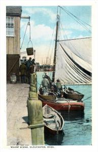 12044  MA Gloucester  Fishing Bark at Wharf
