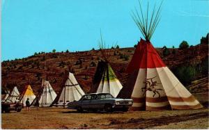WARM SPRINGS, OR Oregon KAH-NEE-TA RESORT TEPEES c1960s  Cars Roadside  Postcard