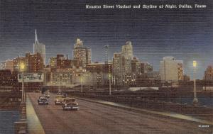 Dallas TX Seagram's 7 Crown Whiskey Billboard~Skyline @ Night~Houston St 1954