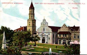 Florida St Augustine The Plaza With New and Old Spanish Cathedral & Constitut...