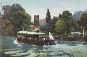 Sailing Boat Ship Passes Worcester Old Water Tower Flag Flying Antique Postcard