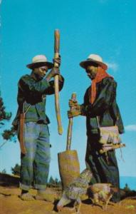 Haiti Native Men Pounding Millet