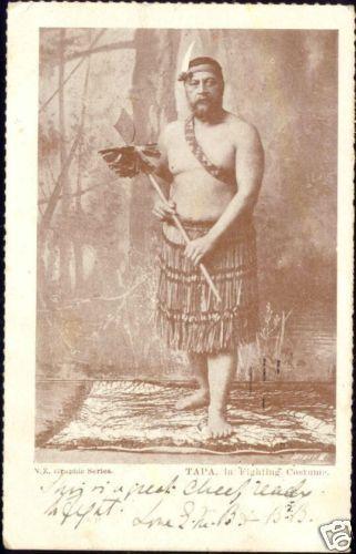 new zealand, TAPA, Native Warrior Fighting Costume 1905
