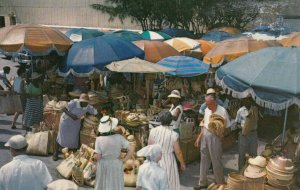 NASSAU, Bahamas, 1940-60s; Straw Work Stands in attractive markets