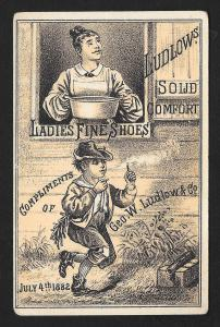 VICTORIAN TRADE CARD Ludlow Ladies Shoes Boy Lighting Firecracker July 4th c1882