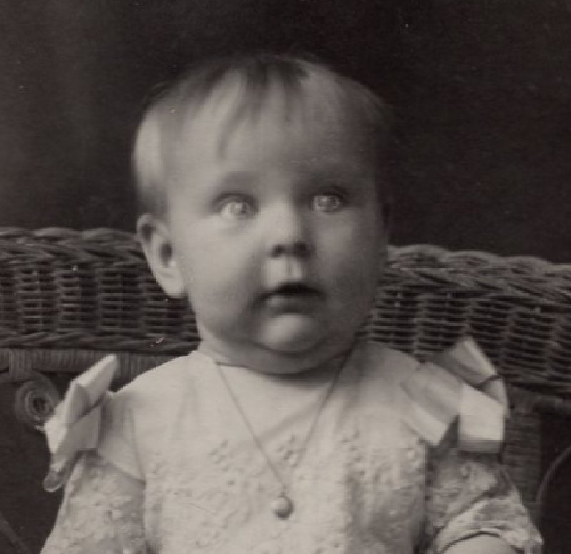 HP082221 Vintage RPPC Real Photo Postcard 6 mo old Alice Baby in Wicker Chair