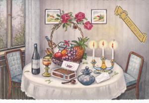 Leve Maria, Dinner table, Fruit & Present Basket, Red Roses, Champagne, Box o...