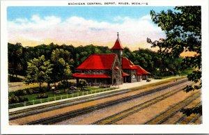 Michigan Central Depot ~ Niles Michigan MI ~ 1930s linen postcard ~ unused