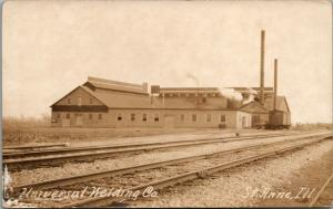 St Anne Illinois~Railroad Tracks by Universal Welding Company~Boxcars~1914 RPPC