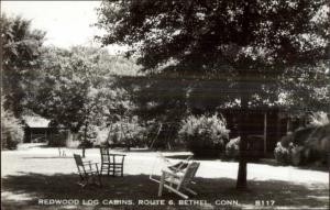 Bethel CT Redwood Log Cabins Route 6 Real Photo Postard