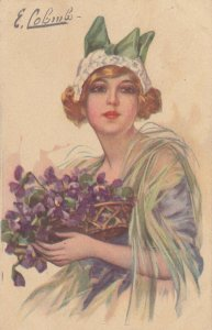 Art Deco ; COLOMBO , Female Fashion Portrait, Girl with Purple Flowers , 1919