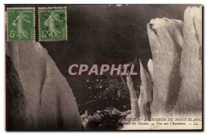 Old Postcard Climbing Mount Blanc Bossons Glacier View Chamonix